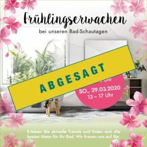 Frühlingserwachen abgesagt Badausstellung Schweinfurt Haßfurt für Baddesign